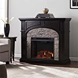 Cheap Southern Enterprises Tanaya Electric Fireplace in Ebony and Gray