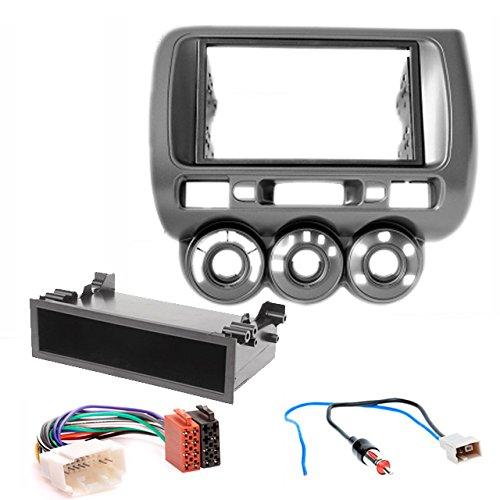 CARAV 11-464-45-12-2 Doppel DIN Autoradio Radioblende Einbauset Dash Installation Kit mit ISO Adapter und Antennenadapter