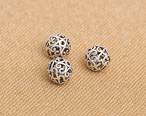 - Luoyi 10mm Vintage Thai Sterling Silver Beads, Round with Cloud, Hollow, Spacer Beads, DIY Jewelry (C025Z)