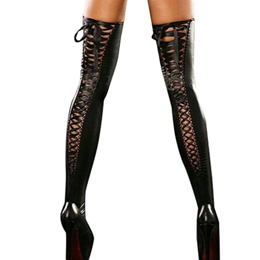 8a6b2d593e722 Women Sexy Club Comfortable Thigh-high Stockings Leather Lace Bow Long Socks  (Black)