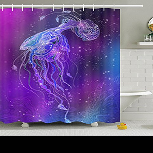Dub Child Frame Dub (DaniulloRU Custom Greeting Jellyfish Girl Frame Ornament Fish Textures Shark Waterproof Decor Shower Curtains 72 x 72 Inches Polyester Fabric Bath Bathroom Curtain)