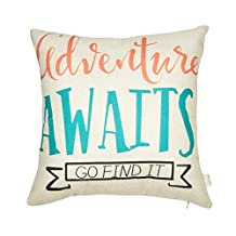 """Fjfz Cotton Linen Home Decorative Throw Pillow Case Cushion Cover for Sofa Couch Aztec Theme Adventure Awaits, Pink Coral Mint Turquoise, 18"""" x 18"""""""