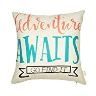 """Fjfz Nursery Inspirational Quote Cotton Linen Home Decorative Throw Pillow Case Cushion Cover for Sofa Couch Aztec Theme Adventure Awaits, Pink Coral Mint Turquoise, 18"""" x 18"""""""