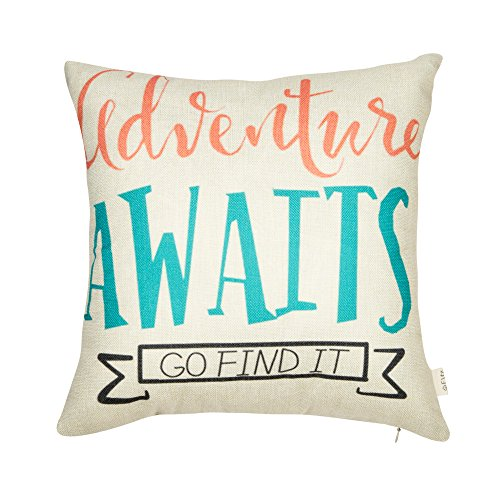 Fjfz Nursery Inspirational Quote Cotton Linen Home Decorative Throw Pillow Case Cushion Cover for Sofa Couch Aztec Theme Adventure Awaits, Pink Coral Mint Turquoise, 18 x 18