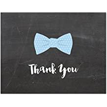 50 Fancy Bow Tie Baby Shower Thank You Cards (Chalkboard)