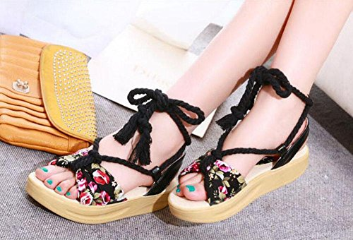 Black Straps Shoes Soles Large Cross Boots Wedge Size Sandals Shaking Women Sandals Cloth 43 Summer Floral 40 pxFHq4pw
