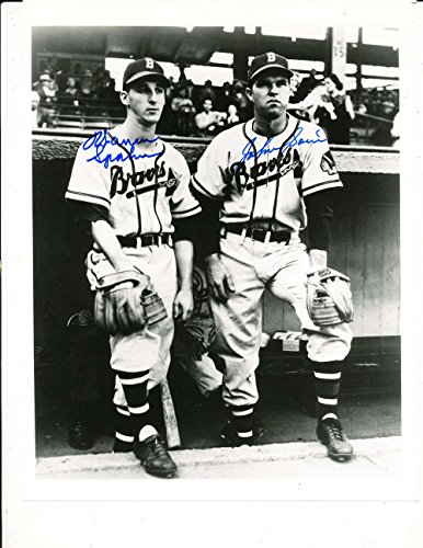 Warren Spahn amp; Johnny Sain Braves signed 8x10 black amp; white