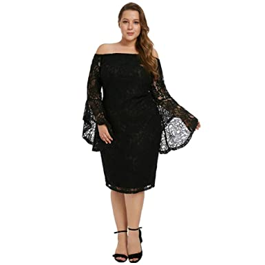 a5c2a22ca7f3 SUGARWEWE Sexy Plus Size Bell Sleeves Lace Dress Party Dress Plus Black-2  5XL