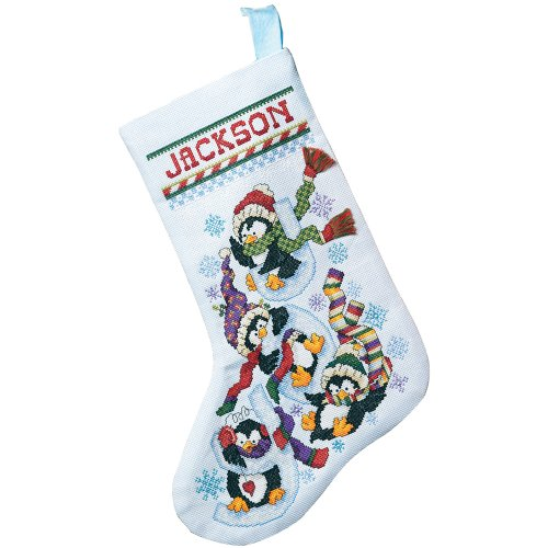Janlynn 80-0477 Penguin Joy Stocking Counted Cross Stitch -