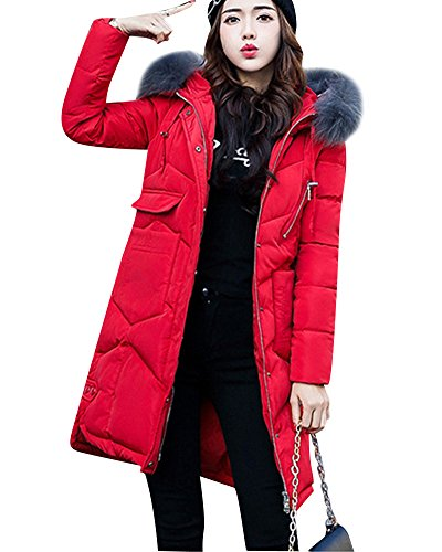 Womens Long Down Feel Jacket Coat Hooded Big Collar Cotton Clothing Red