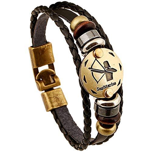Young & Forever Zodiaco Choose Your Zodiac Sign Constellation Handmade brown Genuine leather bracelet for men stylish boys bracelets sagittarus bracelet (B01JAFFFSW) Amazon Price History, Amazon Price Tracker