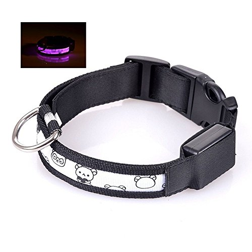 M/Medium Pink Unique LED Lights Stylish comfortable Stylish Cute Pet Dog Cat Collar Nylon 2.5cm Wide - Cat Collar Hardware