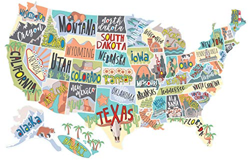 US States Map Travel Tracker Sticker Set | United States Adventure Decals for RVs Motorhomes and Campers | Large (22 x 13 inches) | Road Trip States Visited USA | Peel and Stick Vinyl North America ()