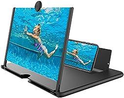 スクリーンアンプ スマホ拡大鏡スタンド MAXKU 12インチ HD 4~5倍 3D 携帯 スクリーン拡大器 携帯電話スクリーンアンプ スタンド折り畳み式 360°自由回転 携帯便利 軽量 多機能調節可能 スマホ & タブレット (ホワイト)