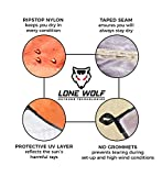 LONE WOLF 10.5 x 10 Lightweight Hammock Rain Fly Tent Tarp Water Proof Camping Shelter RIPSTOP Material UV Protection Sand Resistant Beach Blanket Essential Survival Gear