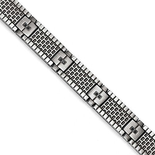 Inox brossé vieilli CZ Bracelet-JewelryWeb - 21 cm