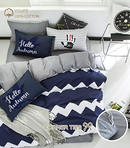 VClife Navy White Grey Cotton Duvet Cover Sets, 3 pcs Wave Patterned Bedding Sets for Boys Mens (Patterned Bedding Sets)