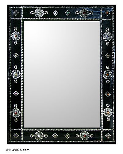 NOVICA Teak mirror, Ebony Jewels by NOVICA