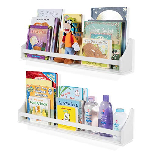 2 Set Shelf Long Crown Molding Floating Bookshelves for Baby and Kids Nursery Room Book Organizer Wall Shelves Storage Ledge Display Holder for Toys CDs Baby Monitor Frames - Ships Fully Assembled (Bookcase Crown Molding)