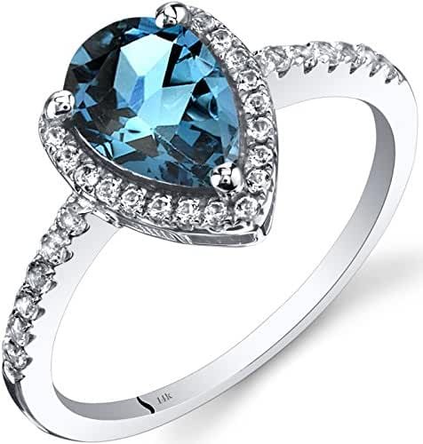 14K White Gold London Blue Topaz Open Halo Ring Pear Shape 1.50 Carats Sizes 5 to 9