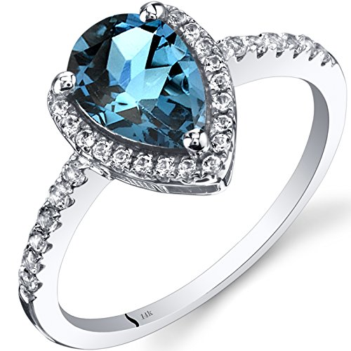 White Gold Pear Shape Ring - 14K White Gold London Blue Topaz Open Halo Ring Pear Shape 1.50 Carats Size 8