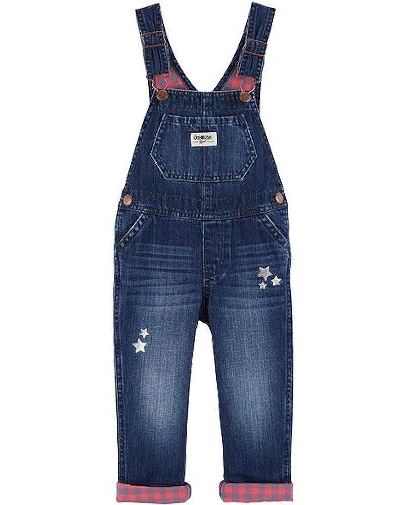 OshKosh B'Gosh Toddler Girls Stars & Plaid Denim Overalls