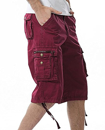 Men's Twill Cargo Shorts-Wine red-38