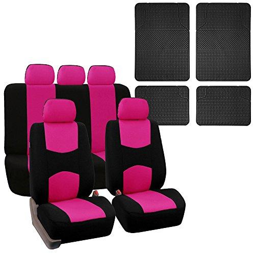 (FH Group FH-FB050115 + F14407 Full Set Flat Cloth Car Seat Covers w. F11300BLACK Floor Mats Pink/Black- Fit Most Car, Truck, SUV, or Van)