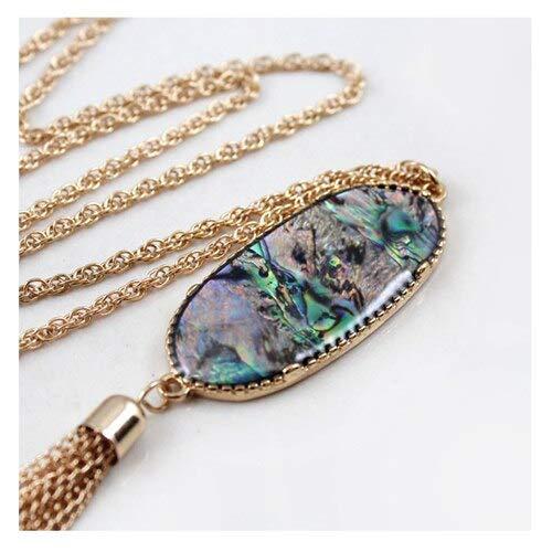 New Long Tassel Pendant Necklace   Statement Oval Drusy Druzy Women's Jewelry (6 Pcs/Lot) (Shell)