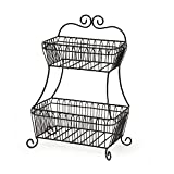 Gourmet Basics by Mikasa 5147845 French Countryside 2-Tier Flatback Metal Storage Basket, Antique Black