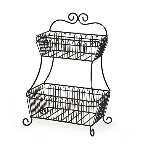 Gourmet Basics by Mikasa 5147845 2-Tier Flatback Metal Storage Basket, French Countryside