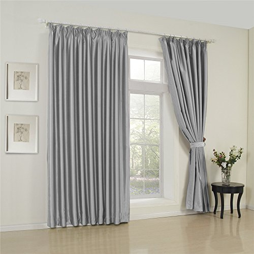 Custom Drapery - IYUEGO Solid Light Grey Classic Blackout Curtain Double Pleated Curtain Drapery with Multi Size Custom 100