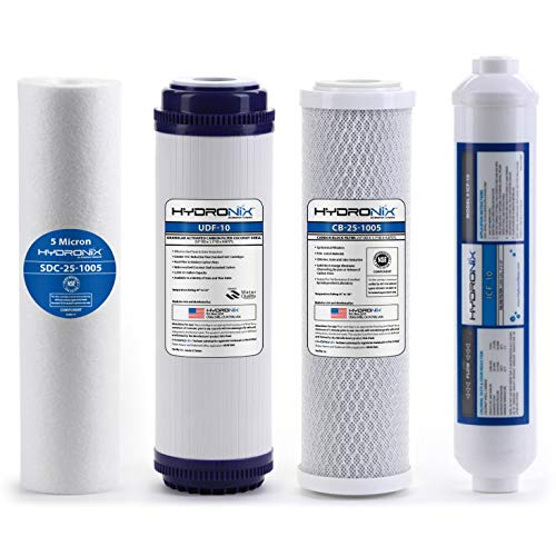 Hydronix HX-RO-4PK 6 Stage 4pc Reverse Osmosis RO Water Filter Cartridges, Pre & Post Replacement Set SED UDF CTO GAC - 2.5