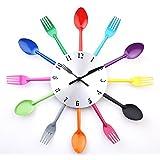 DIY Modern New Design Wall Clock Knife Fork Spoon Clocks Kitchen Kinves Home Decoration