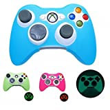 YTTL 3 Pack GLOW in DARK Xbox 360 Game Controller Silicone Case Skin Protector Cover-Blue/Green/Pink For Sale