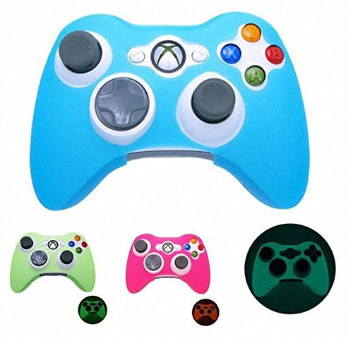 YTTL 3 Pack GLOW in DARK Xbox 360 Game Controller Silicone Case Skin Protector Cover-Blue/Green/Pink