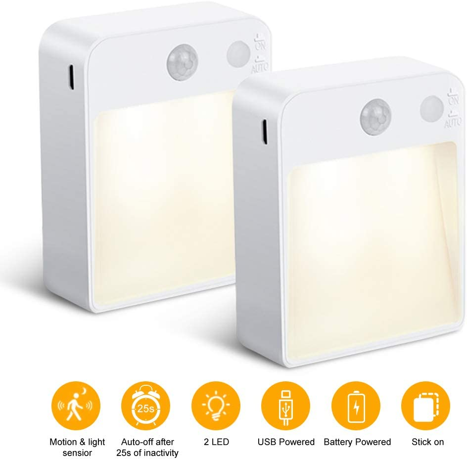 Stick-On Night Lights, Motion Sensor Night Light Warm White Battery Night Light & USB Rechargeable LED Step Lamp, Closet Light, Wall Light for Stairs, Hallway, Bathroom,Toilet(2 Pack)