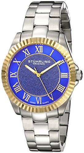 Stuhrling Original Women's 743.03 Vogue Audrey Shimmer Quartz Gold Tone Stainless Steel Bracelet Watch