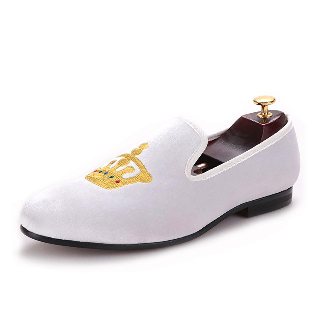 HI&HANN Men's Embroidered Velvet Loafer Shoes Slip-On Loafer Round Toes Smoking Slipper-10-White