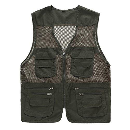 ZQXPP MJ114 Men's Outdoor Multifunction Multi-pocket Pierced Fishing Vest Photo Journalist's Vest Armygreen - Multi Zipper Vest