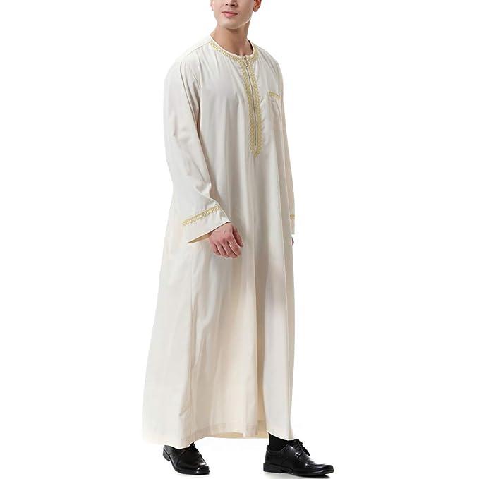 Zhhlinyuan Hombres Musulmán Thobe Arab Muslim Wear Indio ...