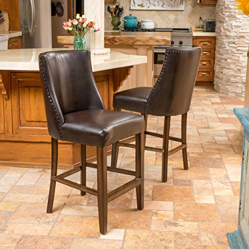 Set of 2 Harman Brown Leather High Backed Counterstool with Nailhead Accents