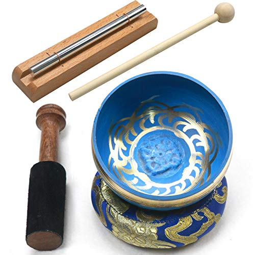 Tibetan Singing Bowl Set ~ Handmade Design ~ Meditation Chime~ With Dual Surface Mallet and Silk Cushion~ Single Tone Energy Chime for Meditation