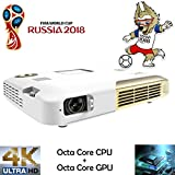 3D 4K Octa Core,Deeirao Portable DLP Home Theater Projector Android4.4 Support 2160P UHD Battery Work 3hours PC Touch Panel PS4 Xbox360 Game Youtube HDMI USB S/PDIF Gold
