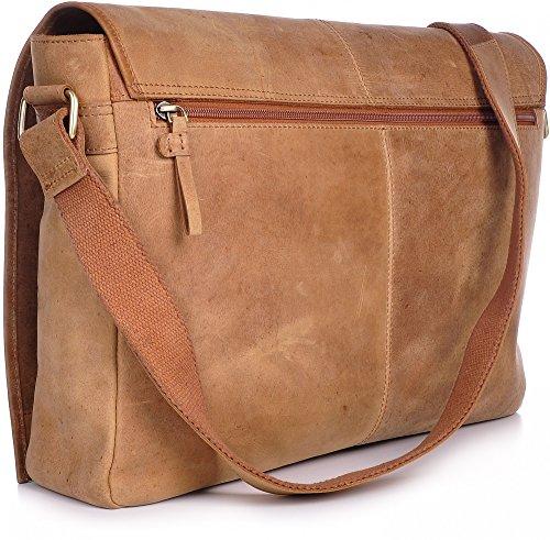 Leder Umhängetasche Schwarz URBAN FOREST Cntmp XL-Messenger Bag Umhängetasche DIN-A4 Aktentasche Grau Echt-Leder Tasche Dunkelgrau 42x28x9cm (B x H x T) Cognac