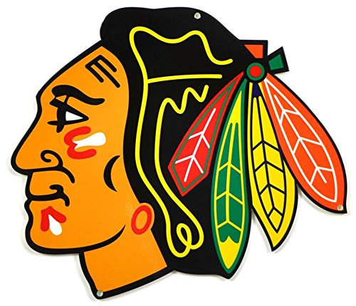 Authentic Street Signs NHL Hockey 12 Inch Steel Lasercut College Team Sports Sign for Dorm Rooms, Man Caves, Garages (Chicago Blackhawks, Around 12 Inches) from Authentic Street Signs