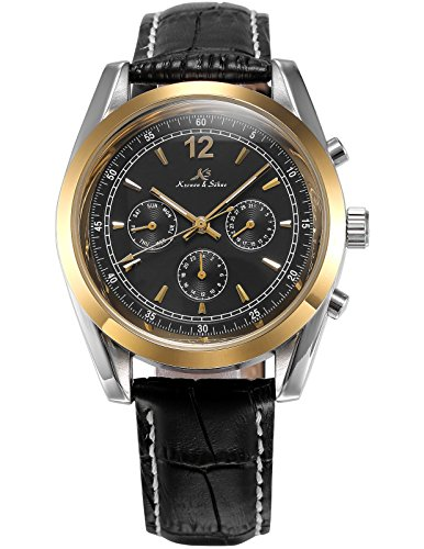 Ks Imperial Series Men's Day Date Automatic Mechanical Black Leather Band Wrist Watch (Day Date Series)