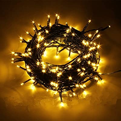 ZmKm Super bright Decorative Christmas Lights LED Novelty Fairy String Lights Ambiance Lighting DC 24V Output 200 LED 8 Modes 72ft for Home Weddings Party Patio concerts Garden Decoration (Warm White)