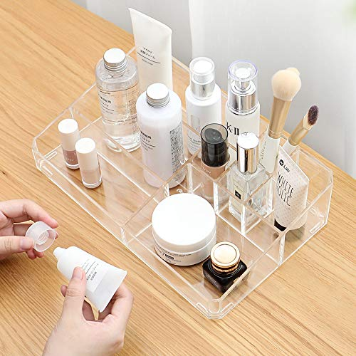 Sooyee Clear Acrylic Makeup Organizer Tray, 9 Spaces Cosmetic Display Case Storage Box for Lipstick,Makeup Brushes and Skin Care Products. from Sooyee