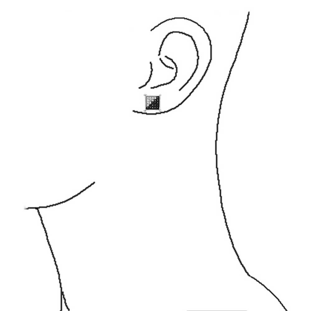 noir Micro Ouvrir CZ Square Stud Doucles doreilles pour hommes pendentif en argent 8MM